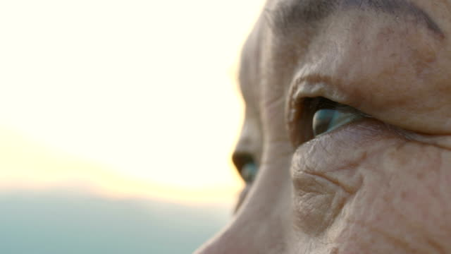 eye of elderly woman - determinazione video stock e b–roll