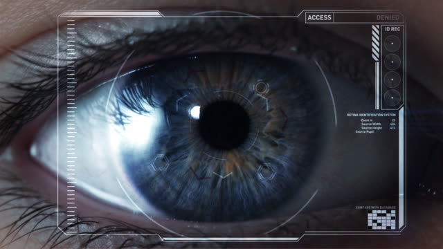 ecu, cgi eye scan of female eye approving access/ auckland, new zealand - identität stock-videos und b-roll-filmmaterial