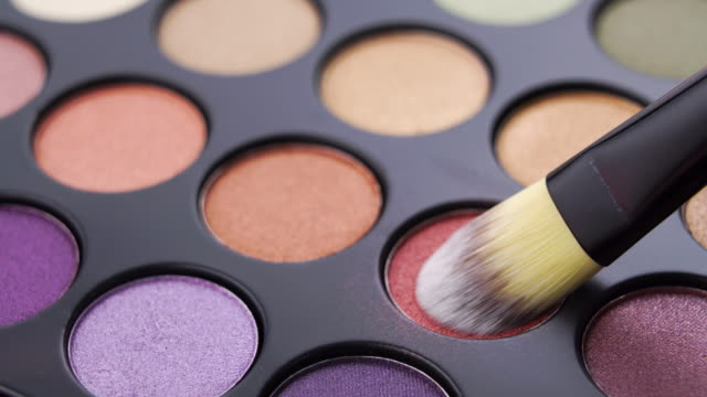 eye shadow palette and brush close up shot - drawing artistic product stock videos & royalty-free footage