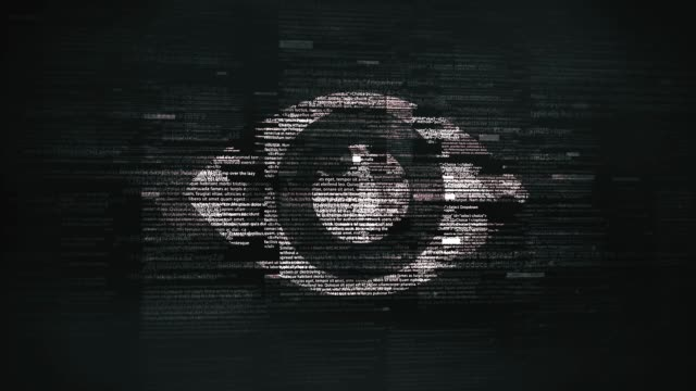 eye symbol in glitchy computer screen - big brother orwellian concept stock videos & royalty-free footage