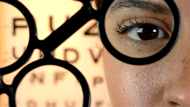 eye test concept - lens optical instrument stock videos & royalty-free footage