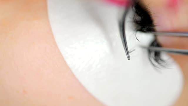 Eyelash extension close-up