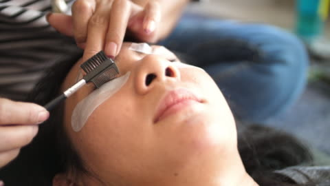 eyelash extension procedure - eyelash stock videos & royalty-free footage