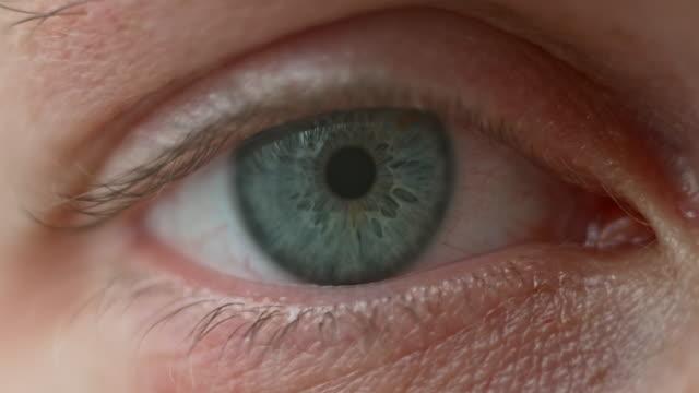 vídeos de stock, filmes e b-roll de pálpebra ecu abertura revelando íris azul - olho humano