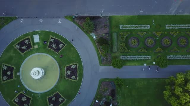 Eye's bird view of Carlton Gardens and a fountain, Victoria