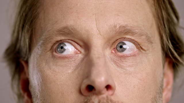 Eyes of a scared Caucasian man looking around