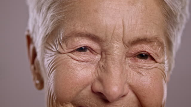 Eyes of a senior Caucasian woman talking