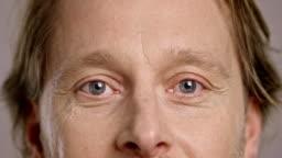 Eyes of a smiling Caucasian man
