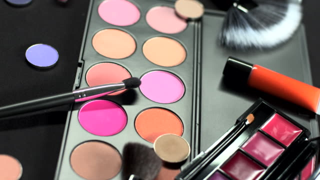 hd loop: eyeshadow set - make up stock videos and b-roll footage