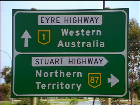 "HIGHWAY SIGN - ""Eyre Highway - Stuart Highway"" / Northern Territory, Australia"