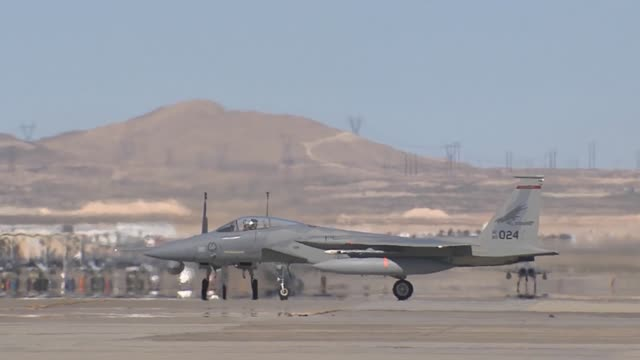 f15cs assigned to the 123rd fighter squadron portland ang ore taxi on the flight line during red flag 142 mar 12 2014 at nellis afb nev more than... - captain scarlet stock videos and b-roll footage