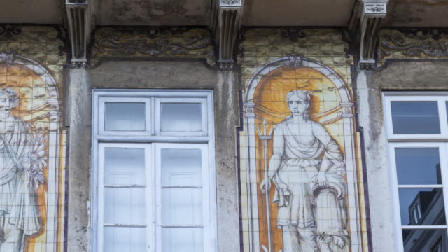 façade in rua da trindade,  lisbon, portugal, europe - female likeness stock videos & royalty-free footage