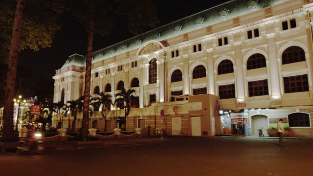 faã§ade of side of saigon opera house at night - history stock videos & royalty-free footage