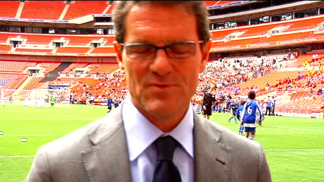 fabio capello interview; capello interview sot - plans to watch aston villa as they have possibility of fielding an all-english team/for captaincy... - fielder stock videos & royalty-free footage