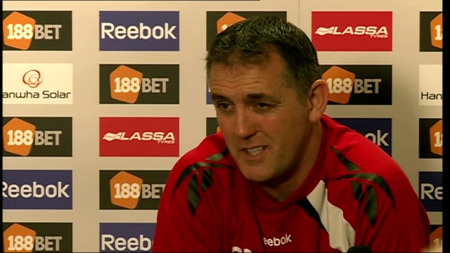 bolton manager speaks of his progress england int owen coyle press conference sot on reaction of fiancee of fabrice muamba to his recovery - fiancé stock videos & royalty-free footage