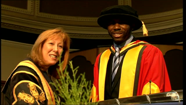 fabrice muamba receives honorary degree from university of bolton england greater manchester university of bolton photography** **faint audio**... - fabrice muamba stock videos and b-roll footage