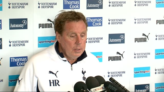 harry redknapp comments england essex chigwell int harry redknapp press conference sot fantastic news / i spoke to owen coyle said he had great day... - fabrice muamba stock videos and b-roll footage