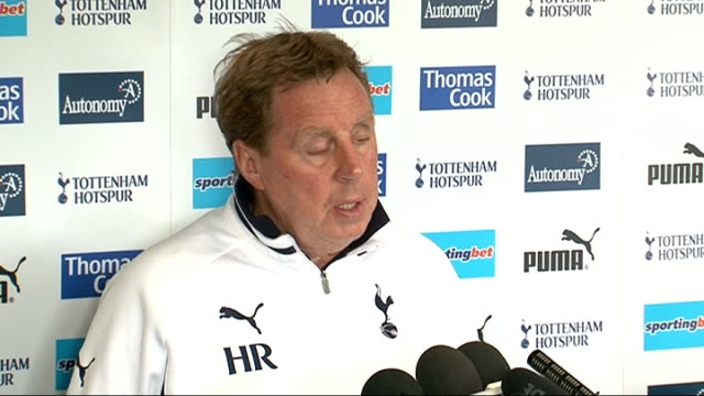 harry redknapp comments england london white hart lane int harry redknapp press conference sot talks of his team being ready to play after the... - fabrice muamba stock videos and b-roll footage