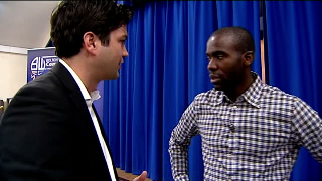 fabrice muamba supports defibrillator campaign fabrice muamba interview sot - defibrillator stock videos and b-roll footage