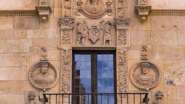 vídeos y material grabado en eventos de stock de facade of a building in salamanca city, salamanca province, castilla y leon, spain, europe - salamanca