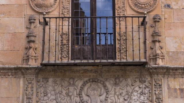 Facade of a building in Salamanca city, Salamanca province, Castilla y Leon, Spain, Europe