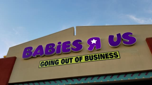 Facade of Babies R Us store in Dublin California with banner reading Going Out of Business following the bankruptcy of parent company Toys R Us April...