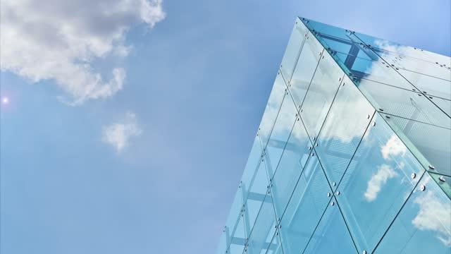 stockvideo's en b-roll-footage met voorzijde van blauw glasbouw - architecture