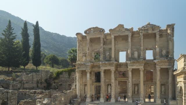 tl: facade of library of celsus in ephesus ancient greek city, turkey - mediterranean culture stock videos & royalty-free footage