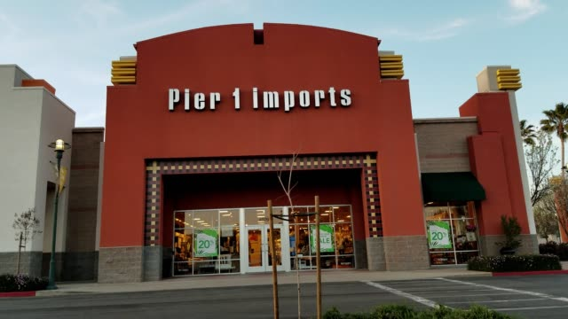 facade of pier 1 imports home furnishings store in dublin, california, april 2, 2018. - pier stock videos & royalty-free footage