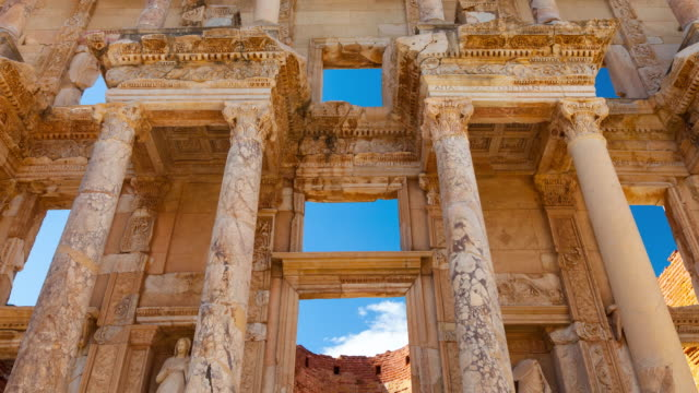facade of the celsus library in efeso - zoom out stock videos & royalty-free footage