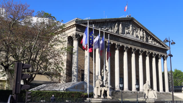 facade of the french national assembly during the third lockdown - frankreich stock-videos und b-roll-filmmaterial