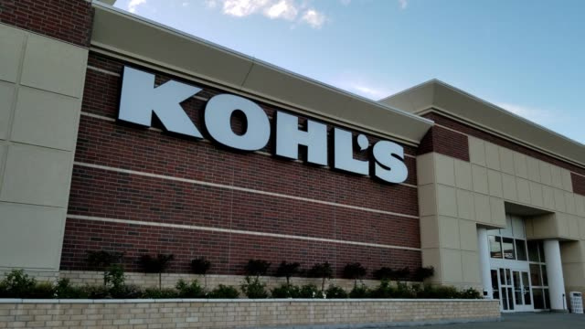 facade with logo at kohl's department store in dublin california april 16 2018 - kohls stock videos & royalty-free footage