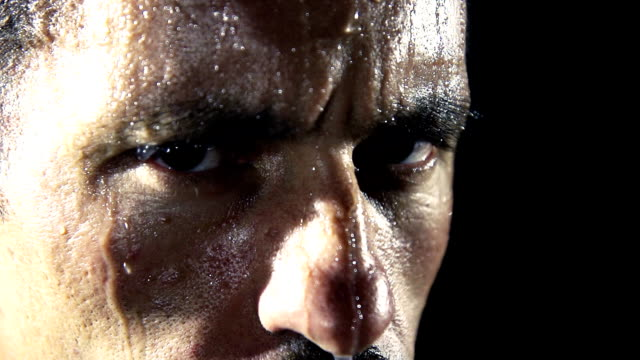 hd super slow mo: face all covered with sweat - practising stock videos & royalty-free footage