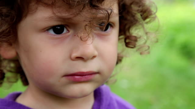 face close up of a sad little girl - toddler stock videos & royalty-free footage