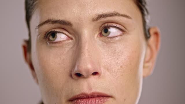 Face of a sad young Caucasian woman
