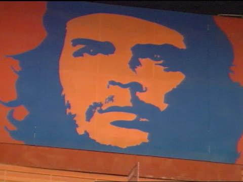 mural ecu face of che guevara mural his facial features are outlined in black his skin is painted bright orange / red cuba** - che guevara stock videos & royalty-free footage