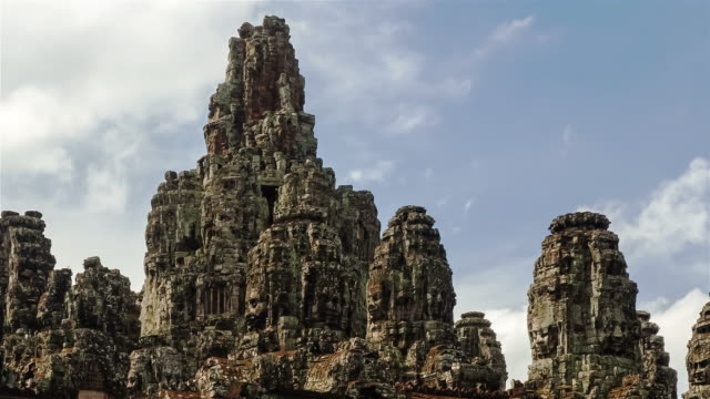 face of god at bayon stone castle - angkor stock videos and b-roll footage