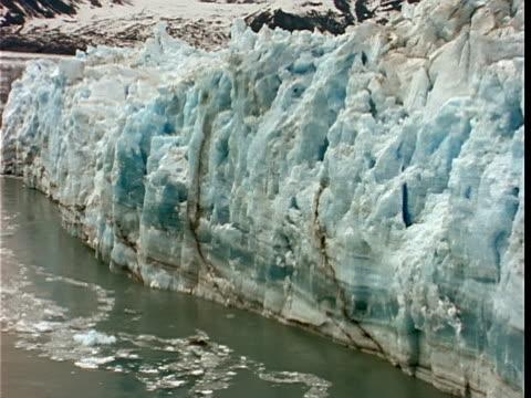 LOW AERIAL, Face of Hubbard Glacier, Yukutat Bay, Alaska, Yukon Territory, USA/Canada