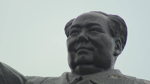 cu la face of statue of chinese president, shanghai, china - socialism stock videos & royalty-free footage