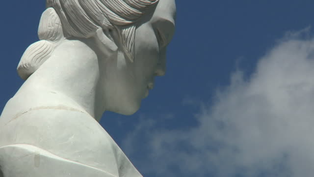 CU Face of statue with clouds moving behind / Tian Chi, Xinjiang, China