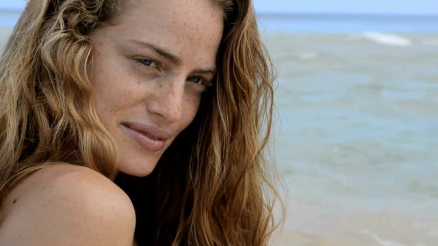 face of woman at sea - freckle stock videos & royalty-free footage