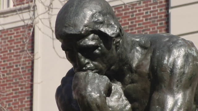 cu face on thinker statue / new york, united states - ivy league university stock videos & royalty-free footage