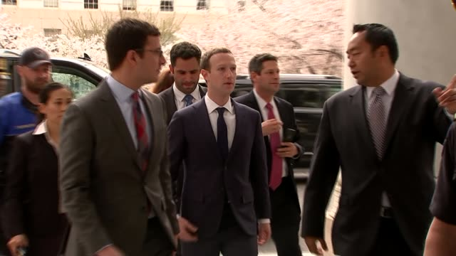 facebook boss mark zuckerberg faces second day of questioning in congress england washington dc us capitol ext mark zuckerberg arriving with others... - testimony stock videos & royalty-free footage
