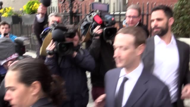 facebook ceo mark zuckerberg leaves the merrion hotel in dublin with former uk deputy prime minister nick clegg after a meeting with politicians to... - imitation stock videos & royalty-free footage