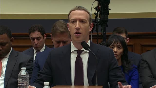 facebook ceo mark zuckerberg says at a house financial services committee hearing on the libra cryptocurrency that there are public places like town... - text messaging video stock e b–roll