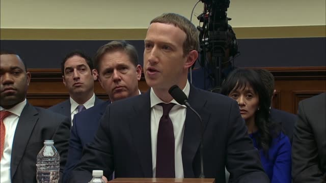 facebook ceo mark zuckerberg tells california congressman juan vargas at a house financial services committee hearing about the libra cryptocurrency... - launch event stock videos & royalty-free footage