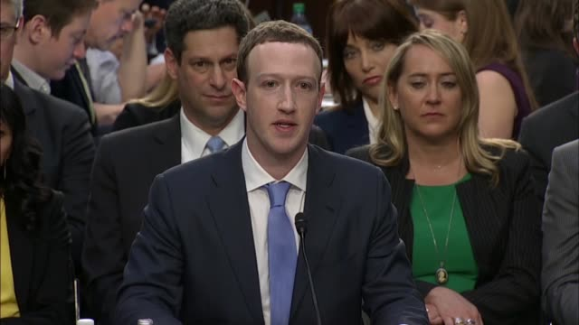 facebook ceo mark zuckerberg tells senate commerce committee chairman john thune at a hearing on data privacy that he did not have ai technology in... - senate stock videos & royalty-free footage