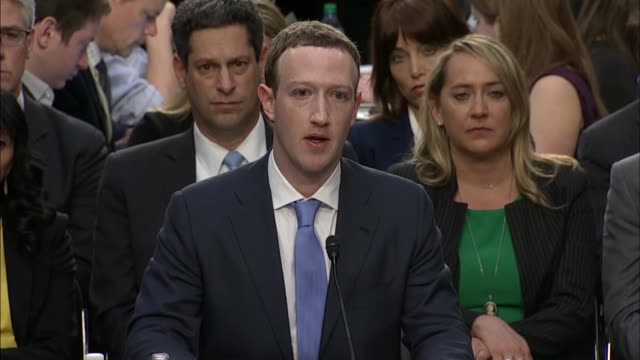facebook ceo mark zuckerberg tells senate commerce committee chairman john thune at a hearing on data privacy that the company was undergoing a... - künstlich stock-videos und b-roll-filmmaterial
