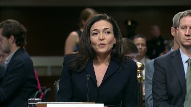 facebook chief operating officer sheryl sandberg says in testimony before the senate intelligence committee that facebook is more determined than... - testimony stock videos & royalty-free footage