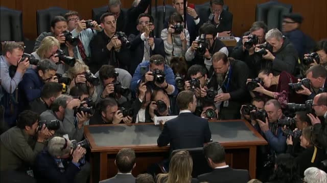 facebook founder and ceo mark zuckerberg takes his seat at the witness table prior to the start of a hearing on privacy matters with senate judiciary... - founder stock videos and b-roll footage